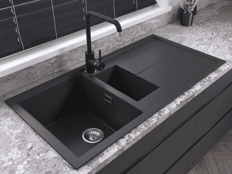 Black 1810 sink and tap