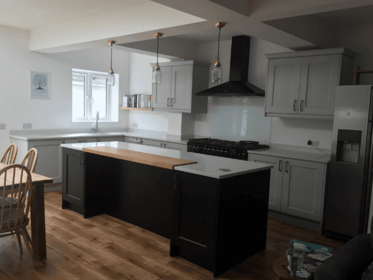 White stone kitchen worktops