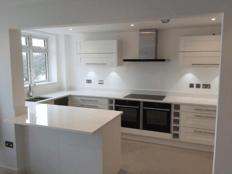 White stone kitchen worktop